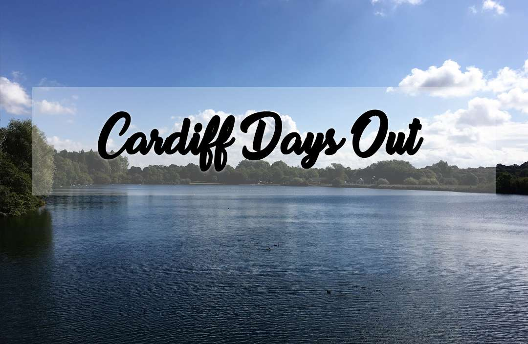 View over Cosmeston Lake with the words Cardiff Days Out on top