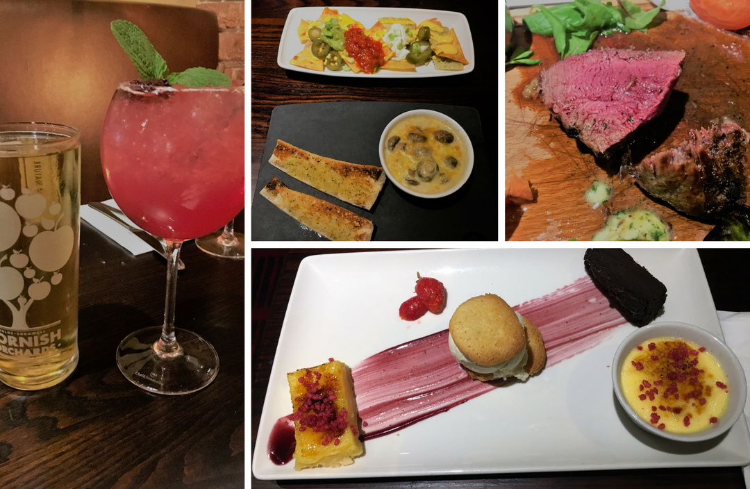 A picture of the drinks, starters and dessert described in the article.
