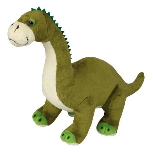 A large green brontosaurus cuddly toy