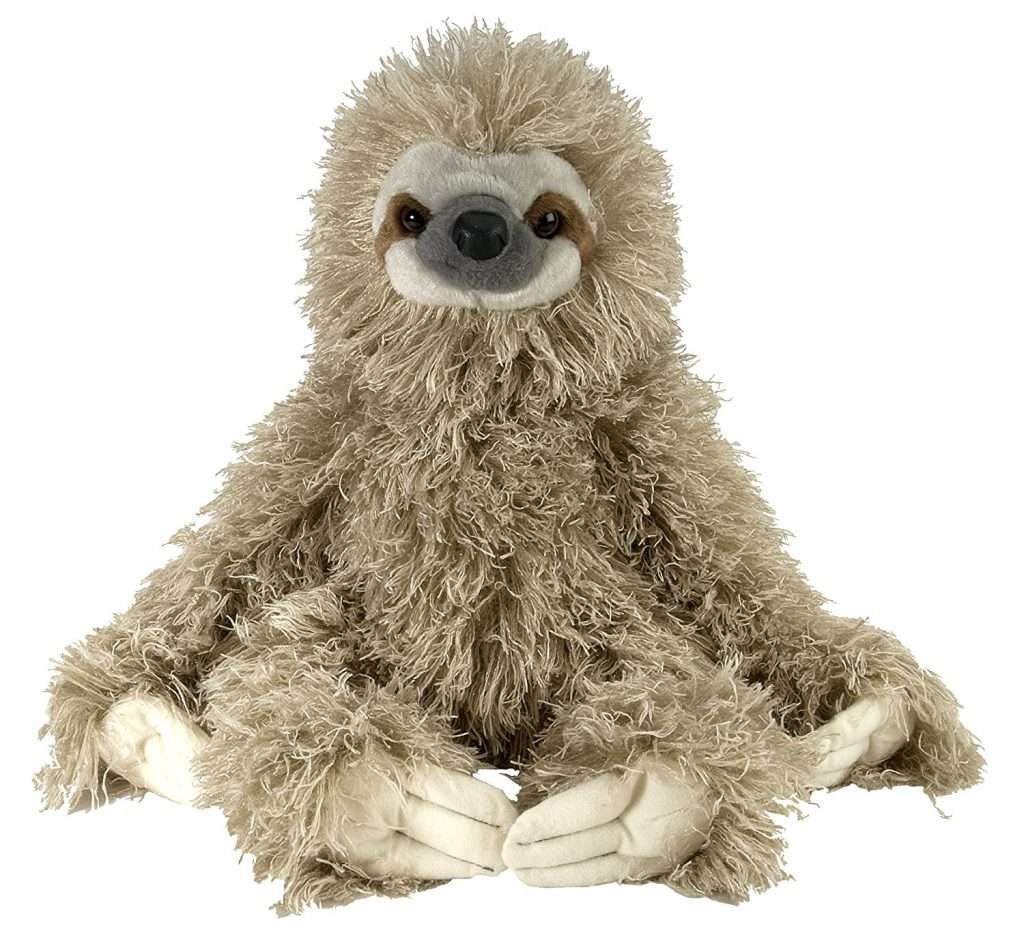 A large fluffy sloth cuddly toy.