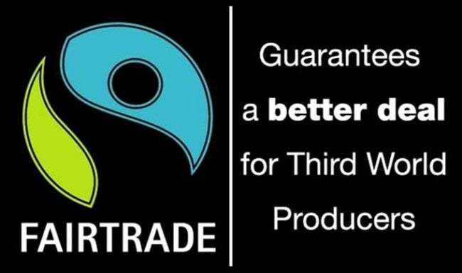 "The fair trade logo and the words ""Guarantees a better deal for third world producers"""