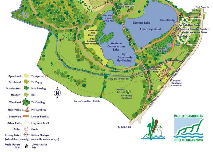 Map of Cosmeston Lakes provided by the Vale of Glamorgan.