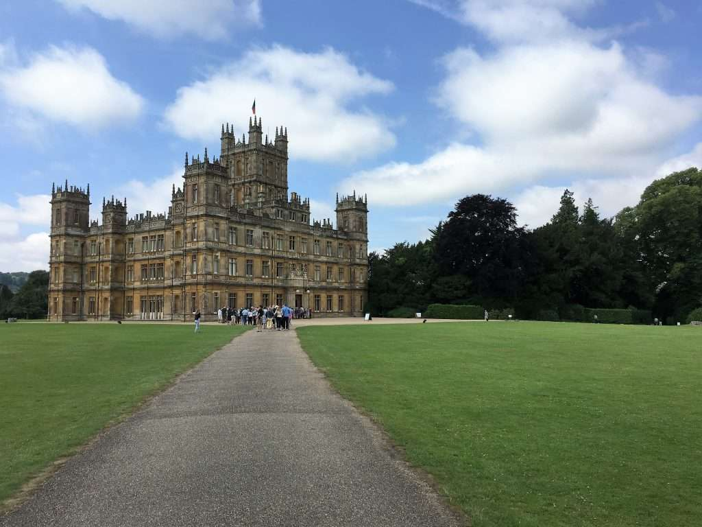 A view of highclere castle from the driveway