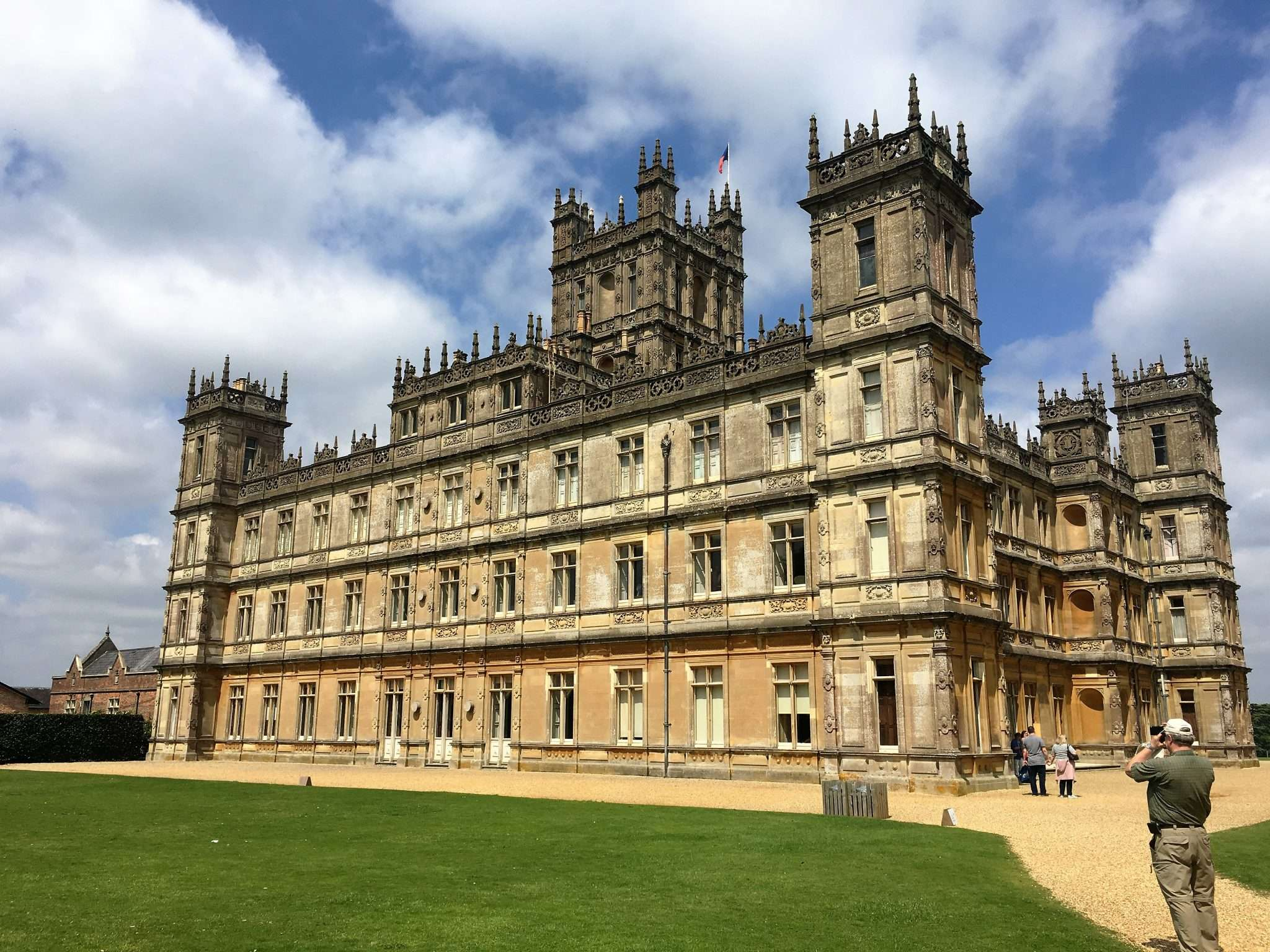 A view of Highclere Castle from the side
