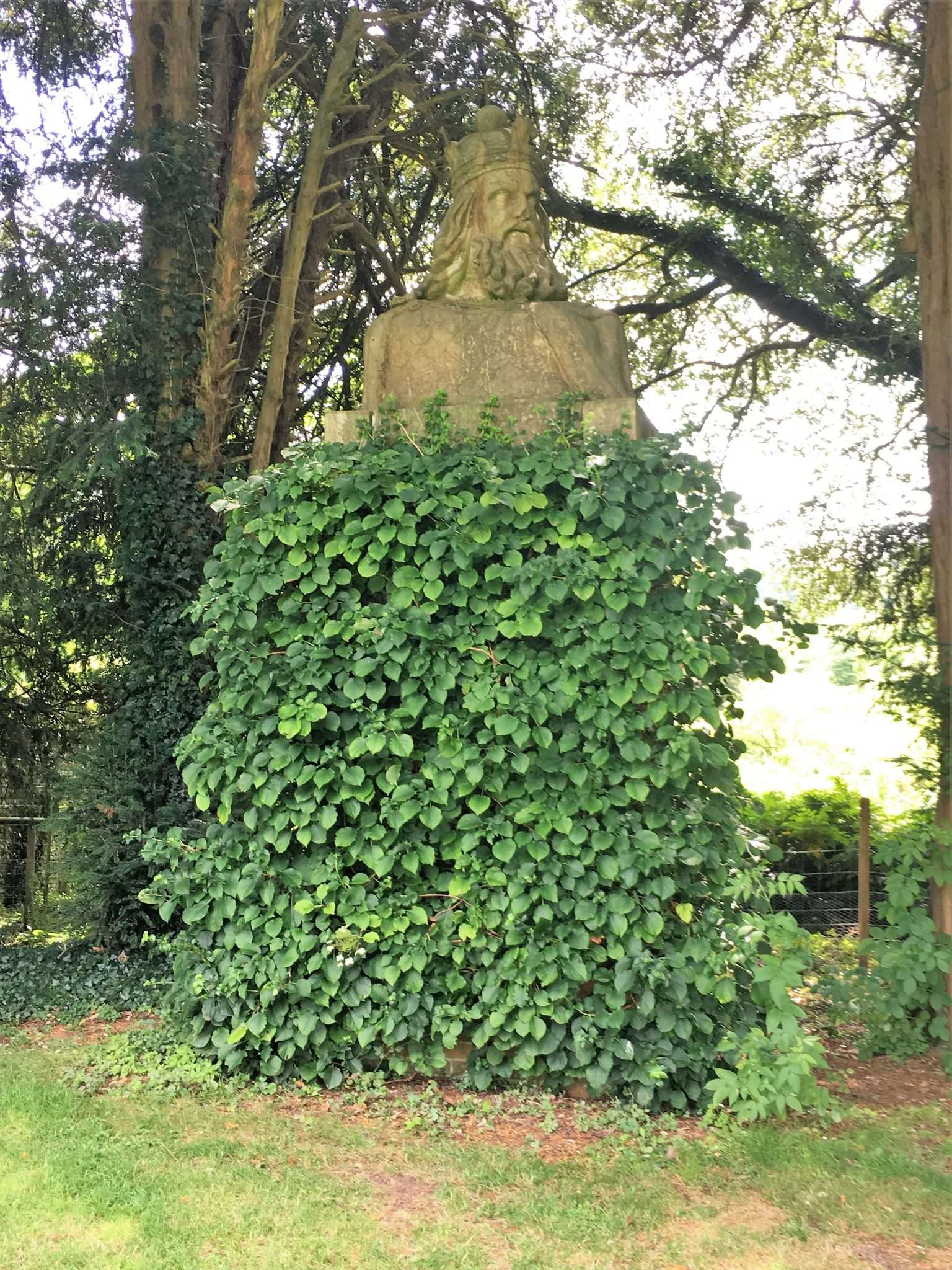 An ivy covered statue of a man