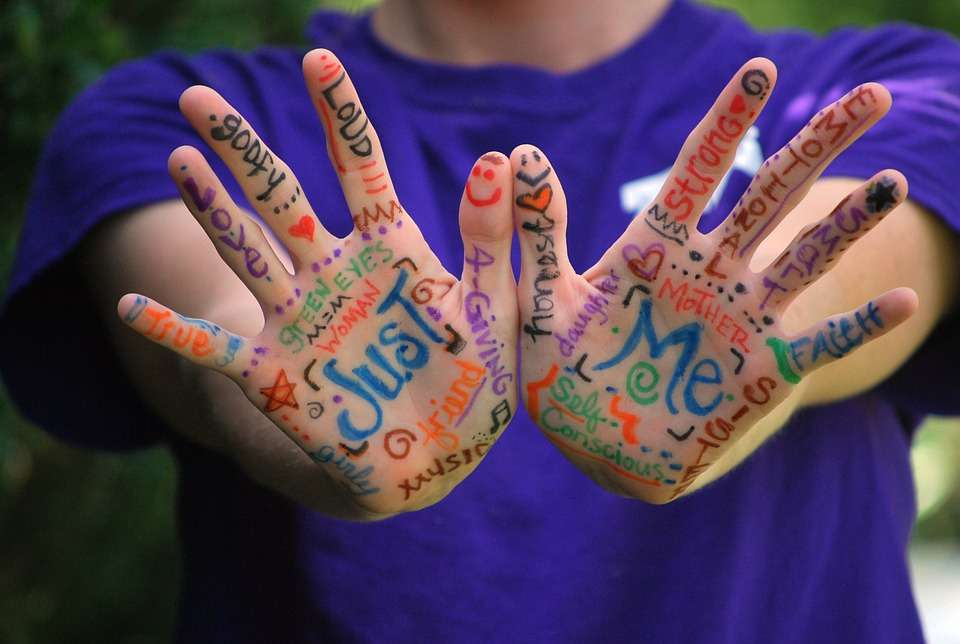 Hands with mental health words written on them
