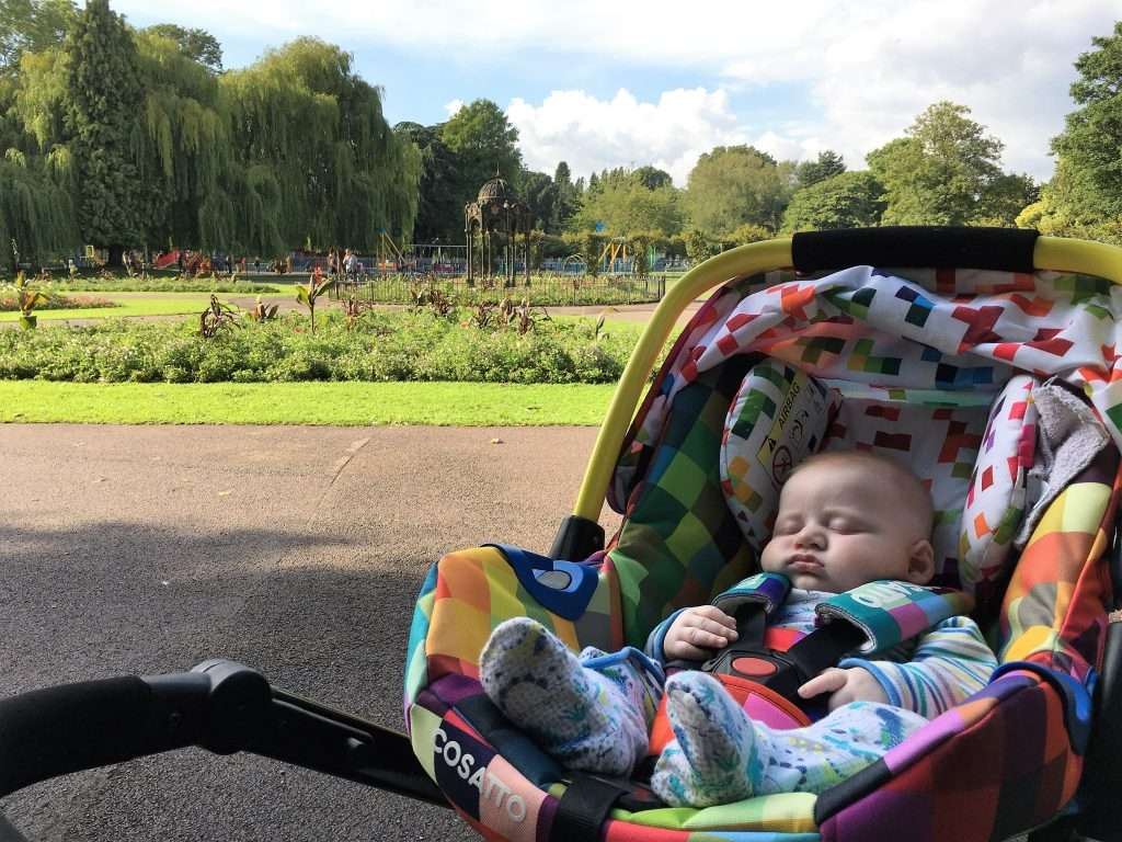 William asleep in pram with park in background.