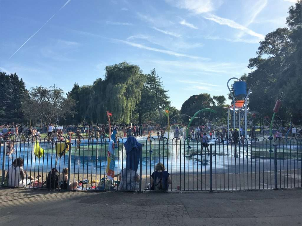 Splash park at Victoria Park with hundreds of kids playing