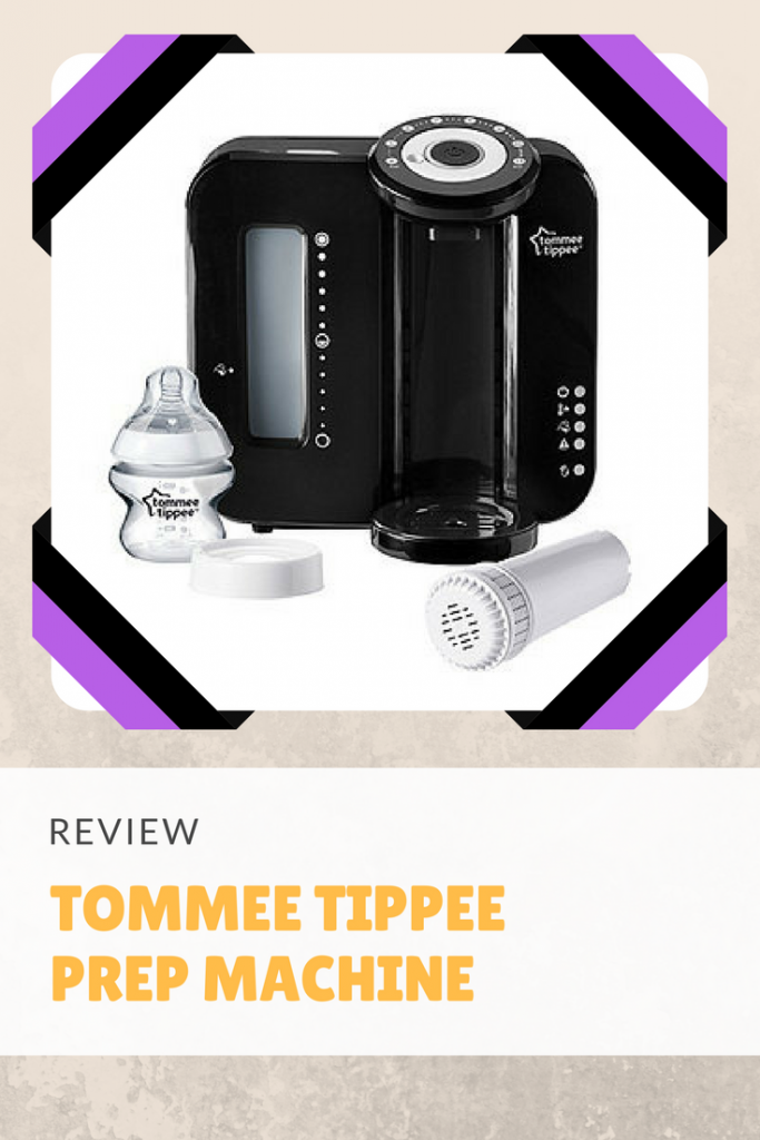 A review of the tommee tippee prep machine, a machine that filters and temperature controls water for making bottles of formula to feed babies.