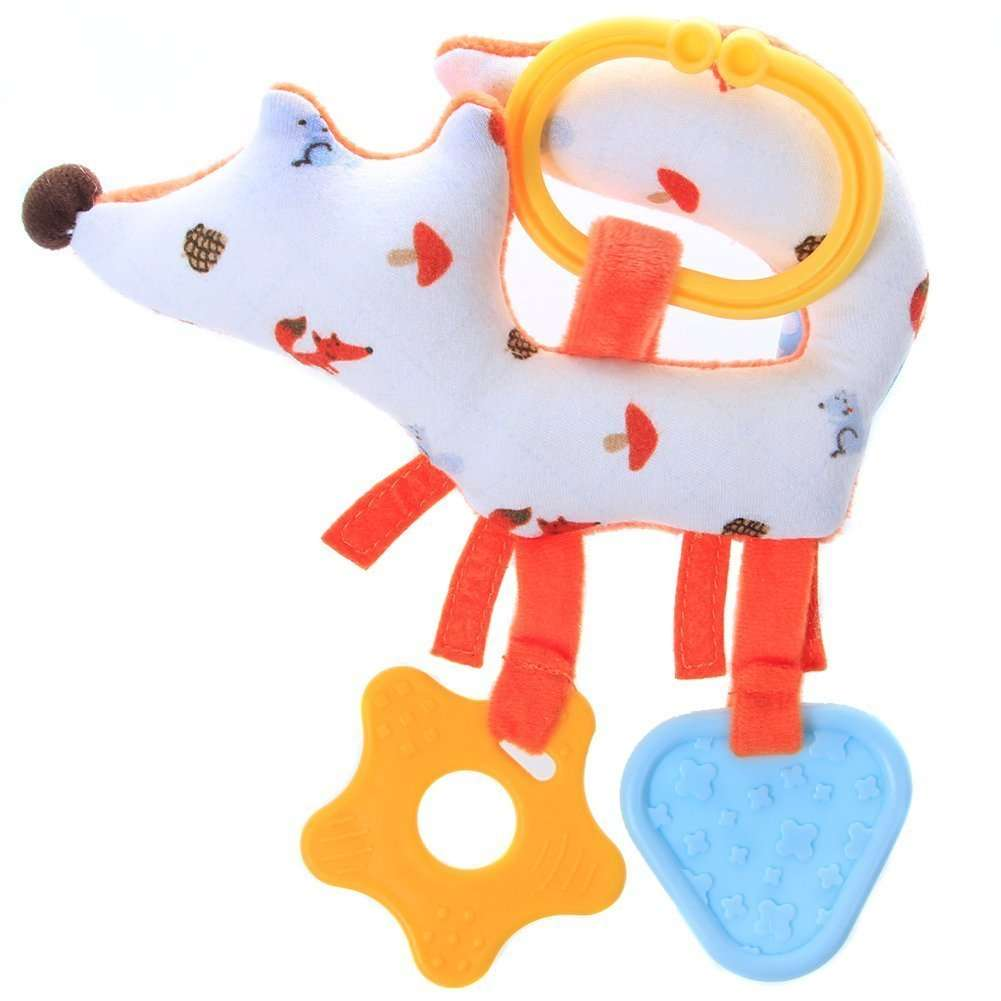 A close up of the Labebe Fox Teether - bright orange fox with blue and yellow teethers.