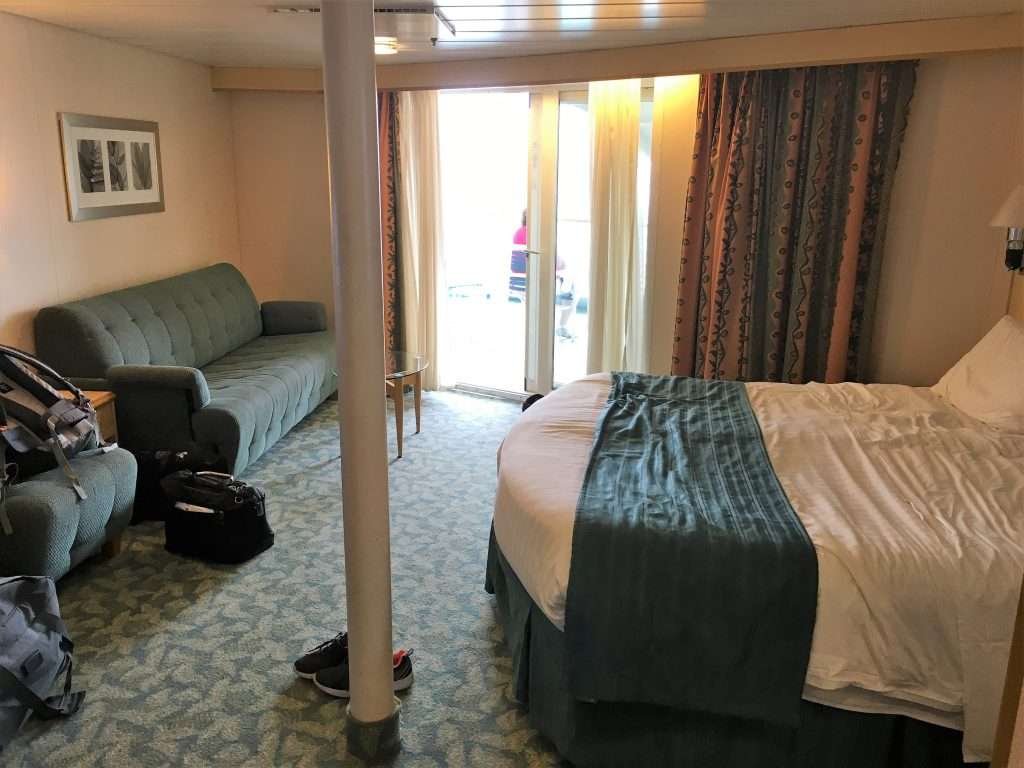 The main bed area of Cabin #1700 The Independence of the Seas