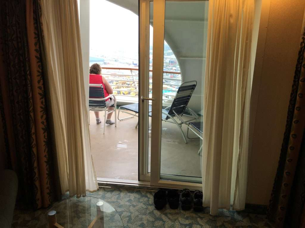 Patio doors showing the balcony on Cabin #1700 The Independence of the Seas