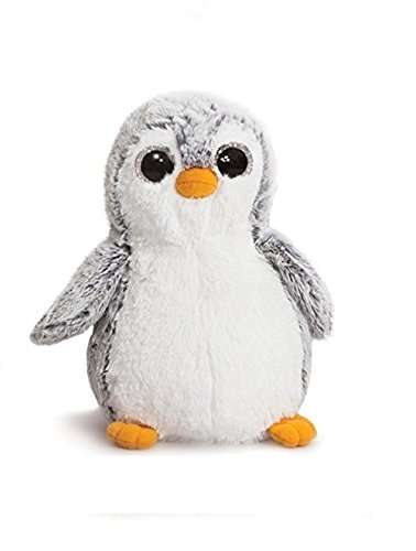 A cuddly toy penguin with silver fur and orange feet and beak