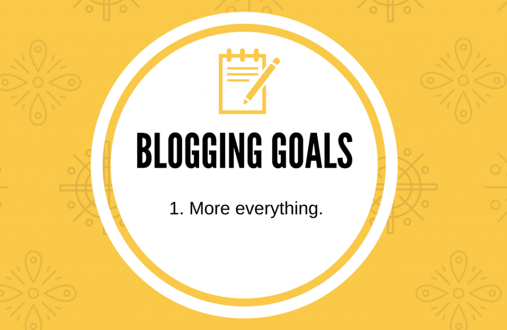 "A yellow background with a white circle that says ""Blogging goals - more everything."""