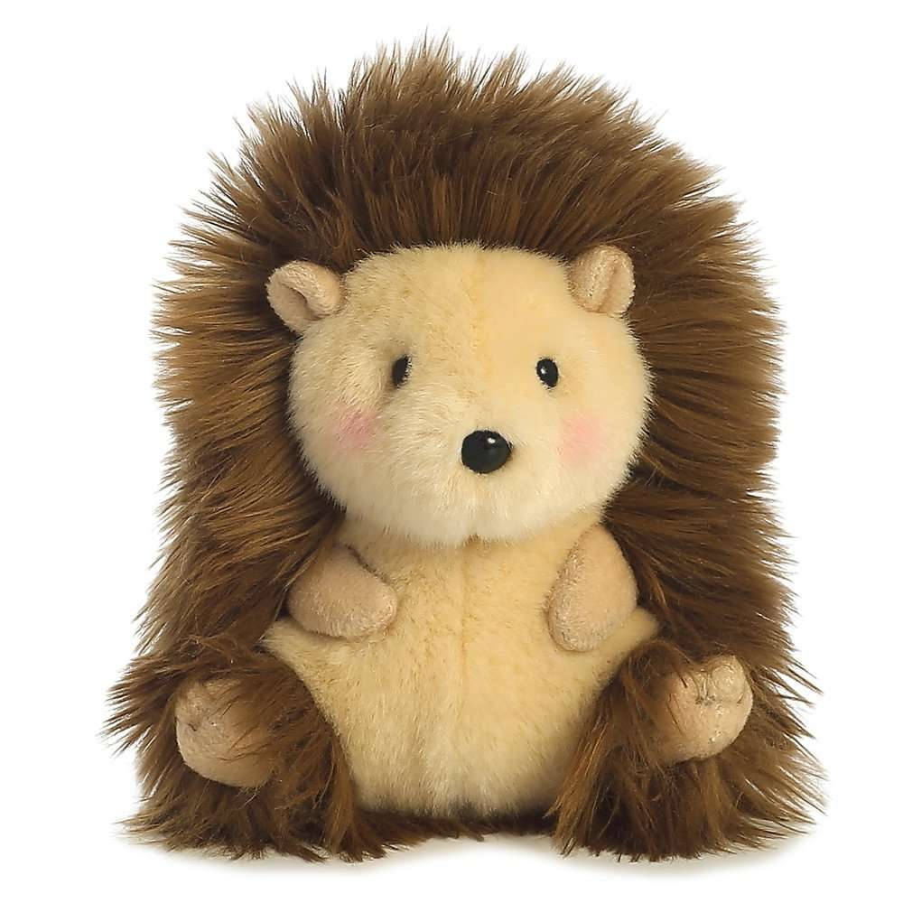A cute fluffy cuddly toy in the shape of a hedgehog.