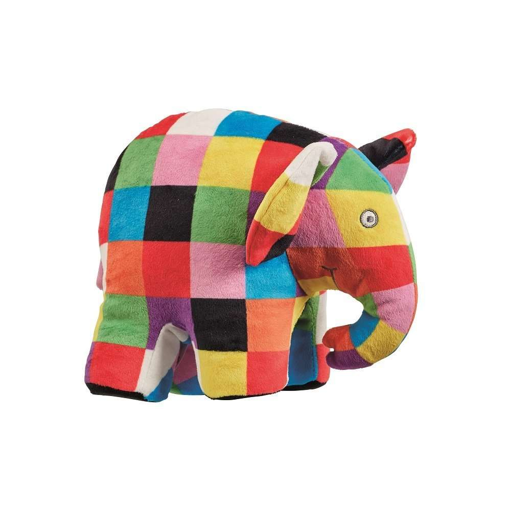 A multicoloured bright and attractive elephant toy, standing up.