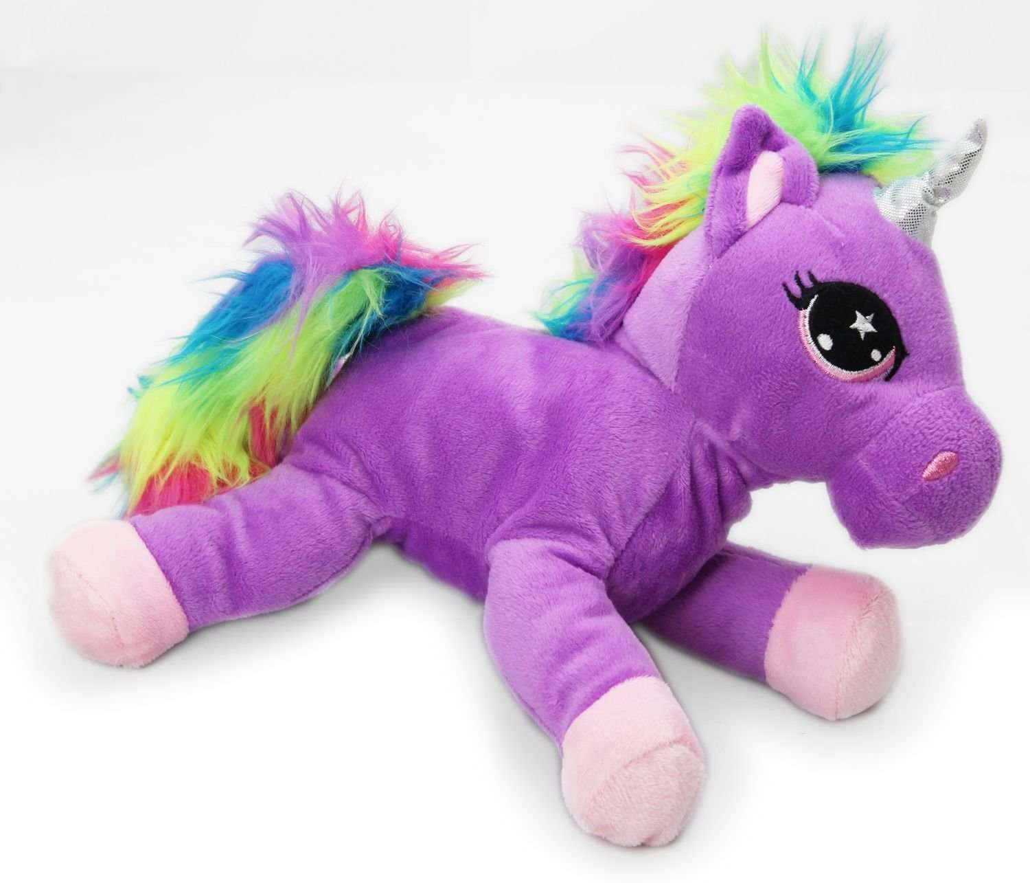 A bright purple unicorn cuddly toy, with multicoloured mane and tail.