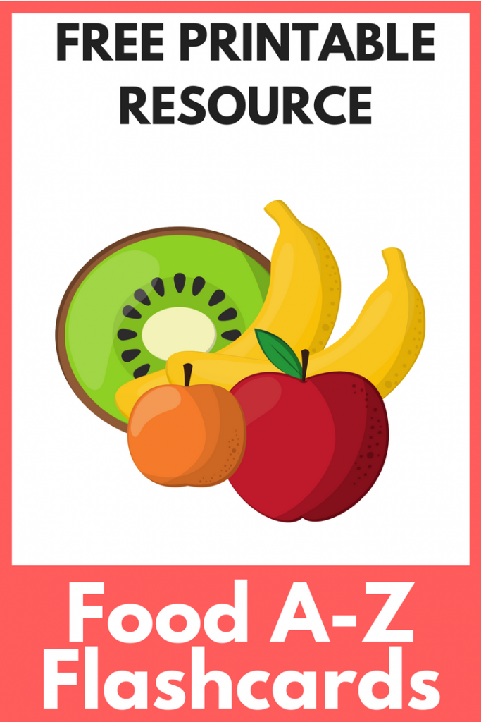 Free printable flash cards covering all the food groups from A to Z, ideal for home education or starting with the alphabetic basics. Bright and colourful!