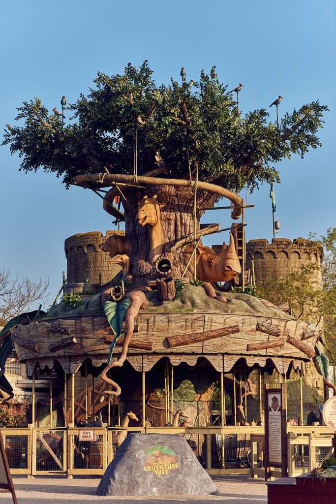 Adventure Tree Carousel Ride at Chessington World of Adventure Theme Park, Zoo and Sea Life Centre