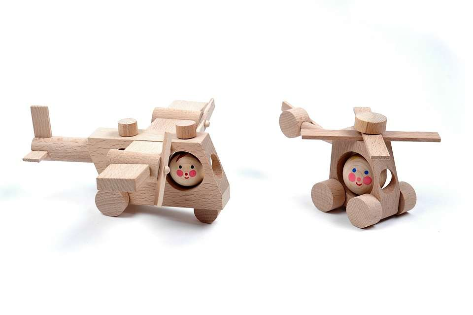 Wooden toys like these retro wooden airplanes make excellent eco-friendly toys and gifts.
