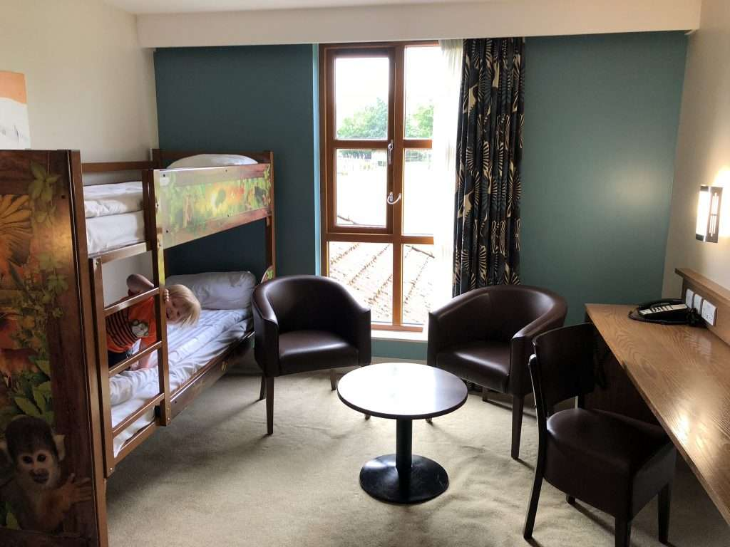 Chessington World of Adventure bedroom with bunk beds