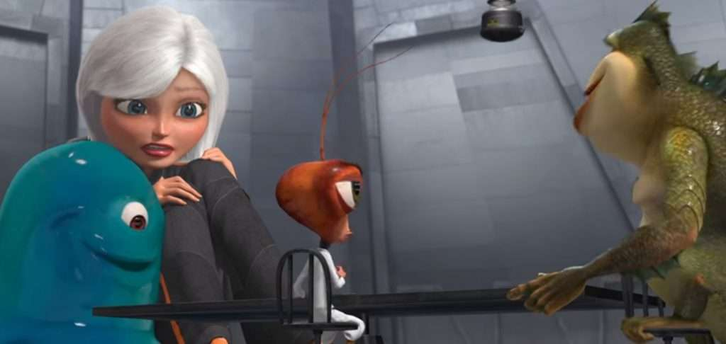 "Still from Halloween Movie ""Monsters vs Aliens"" available on Netflix UK"