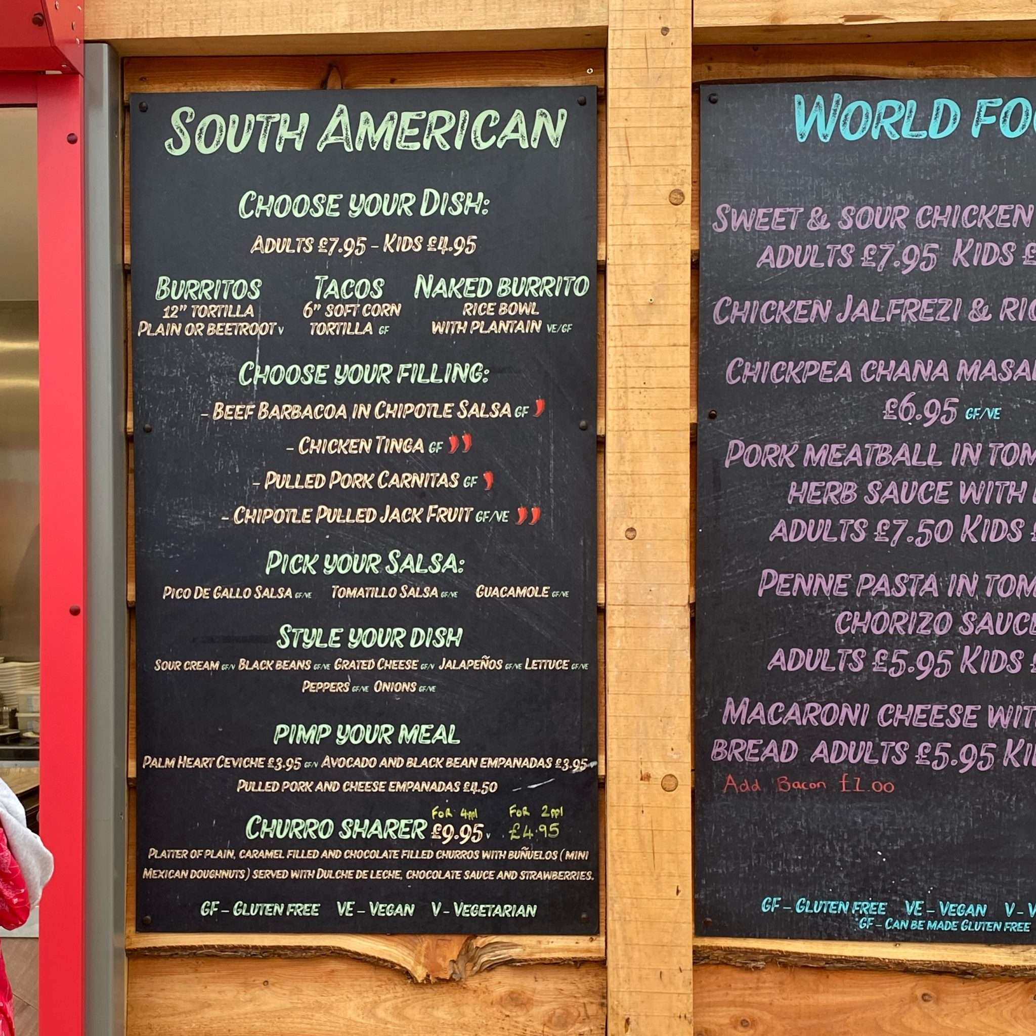 A menu showing South American dishes with gluten free options.