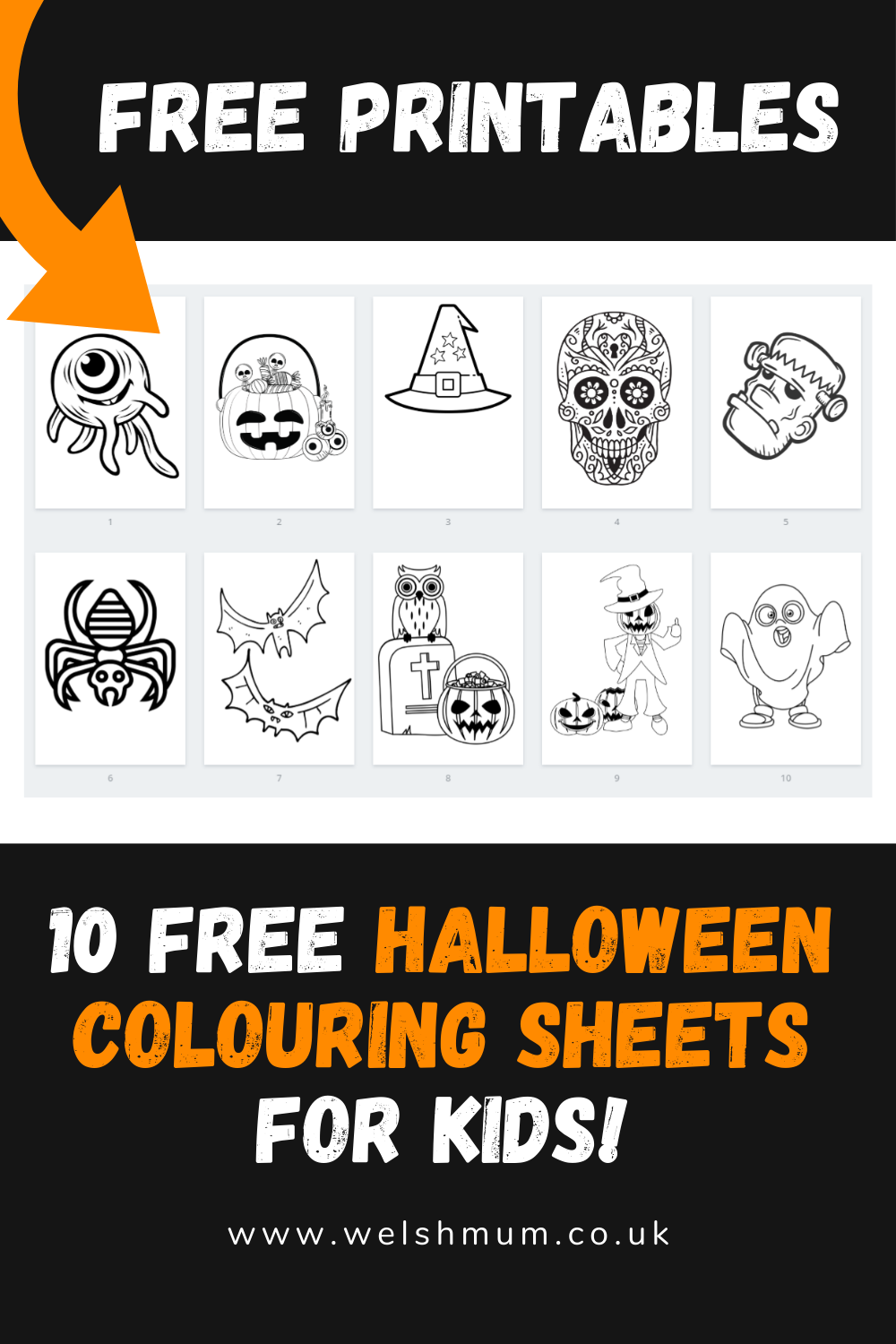 Halloween Colouring Pages - If you're looking for an easy to do at home Halloween activity, look no further than these ten free Halloween printables.